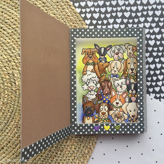 Shadow Box Card with Dogs by July Guest Designer Milene Tiberius | Woof Pack Stamp Set by Newton's Nook Designs #newtonsnook #handmade