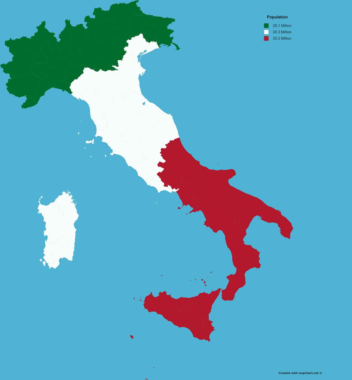 Italy split into 3 areas of equal population