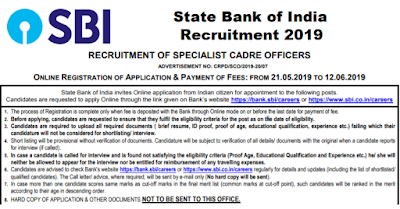 SBI Recruitment for SO Posts 2019