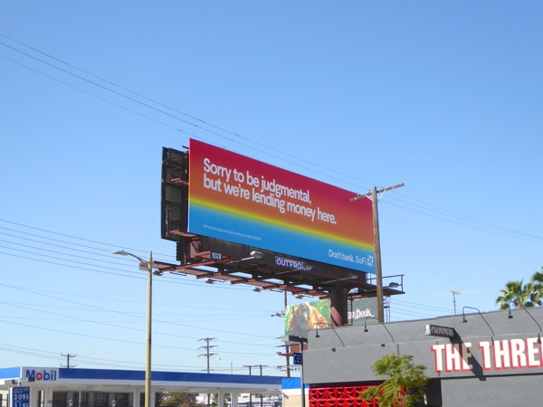 Sorry to be judgmental SoFi billboard