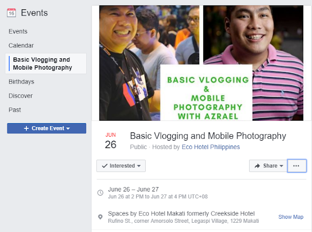 [Event/Training Invite] Basic Vlogging and Mobile Photography on June 26 | Spaces by Eco Hotel Makati formerly Creekside Hotel