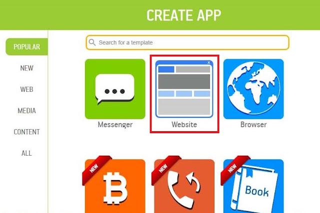 """Pilih icon bertuliskan """"Website"""" pada AppGeyser"""