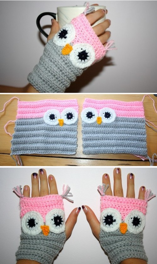 Owl Wrist Warmer or Fingerless Mittens - Free Pattern