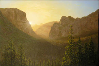 Yosemite National Park, Yosemite Valley, dawn, sunrise, Tunnel View, trees, yellow, sky, sun, CA, California, National Parks