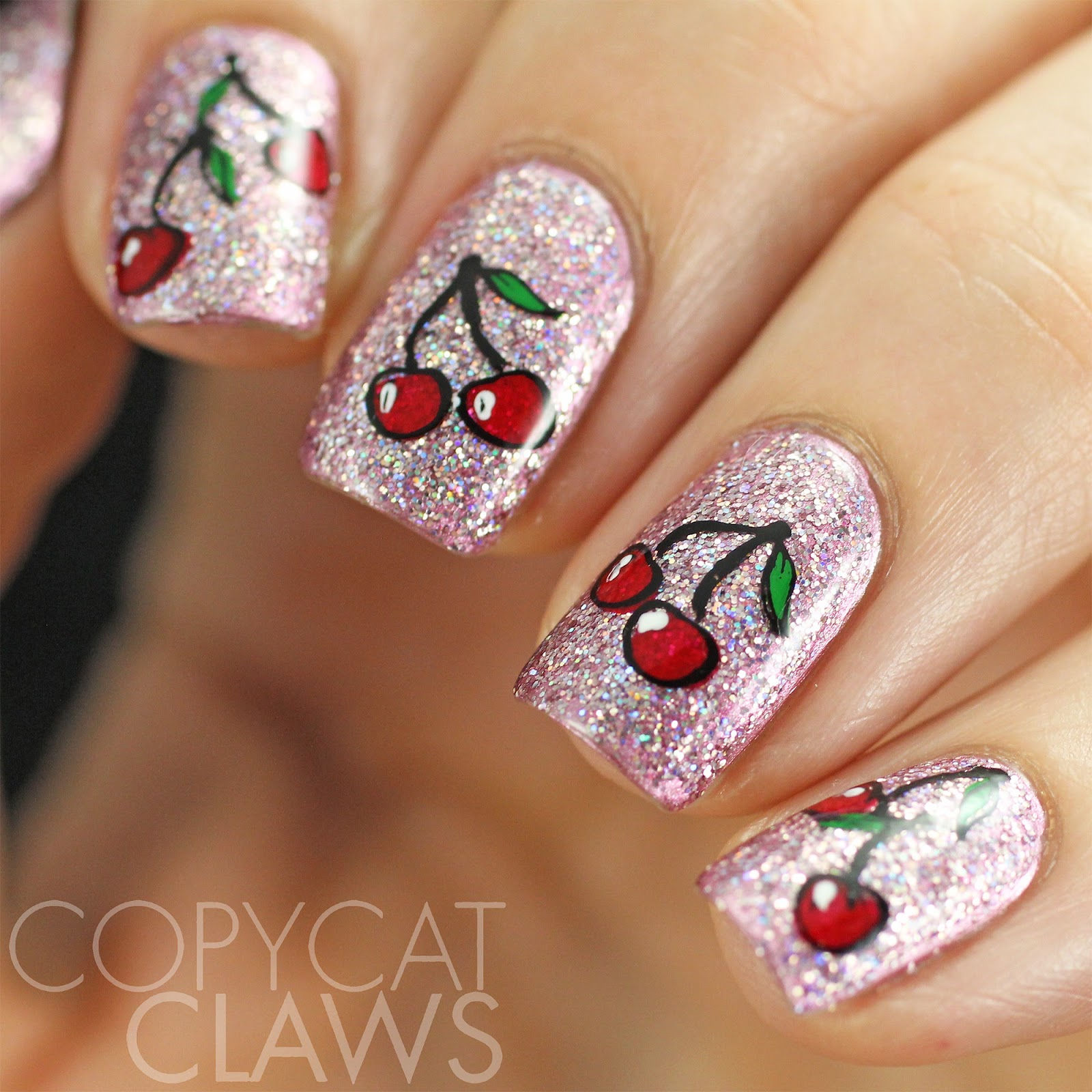 Copycat claws hpb presents cherry nail art for the stamping i used the clear jelly stamper cjs lc 01 plate and their clear stamper previously reviewed here these cherries are my favorite images on prinsesfo Gallery