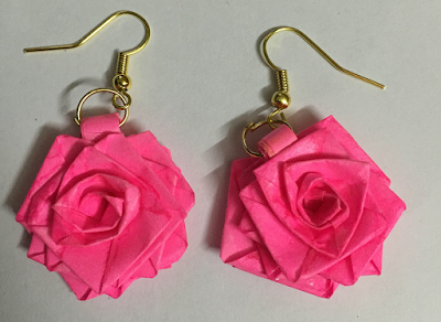 rose quilling paper earrings designs for kids - Quillingpaperdesigns