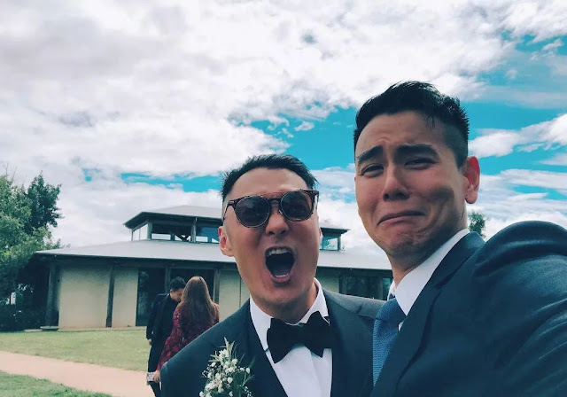 Shawn Yue Eddie Peng at wedding