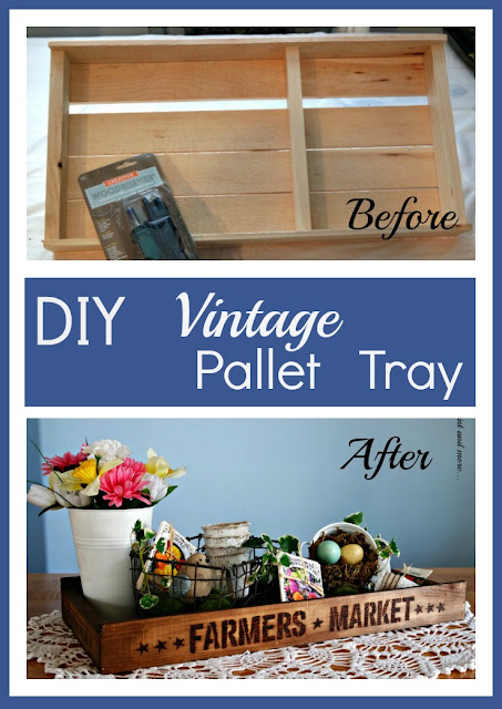 Vintage Pallet tray diy'd with stenciling, woodburning and stain for a beautiful Spring centerpiece