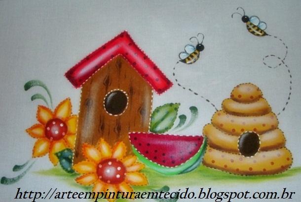 pintura em tecido pano de prato country