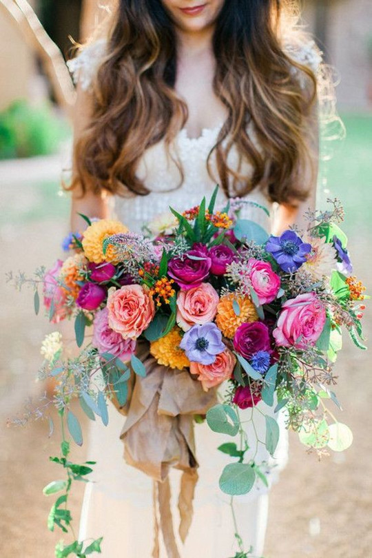 Colorful rose spring wedding Bohemian bridal bouquet
