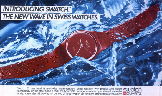 Swatch advertising 1983 - New York Times Magazine