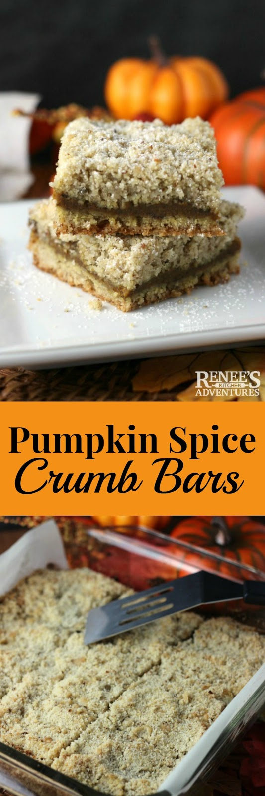 Pumpkin Spice Crumb Bars - easy pumpkin dessert cookie recipe made with pure pumpkin puree, butter and brown sugar