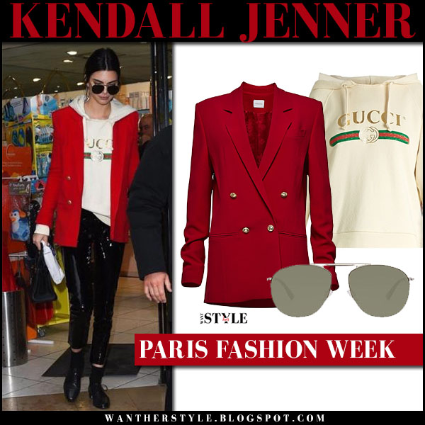 Kendall Jenner in red blazer, cream Gucci logo sweatshirt and black pants what she wore models off duty paris fashion week 2017