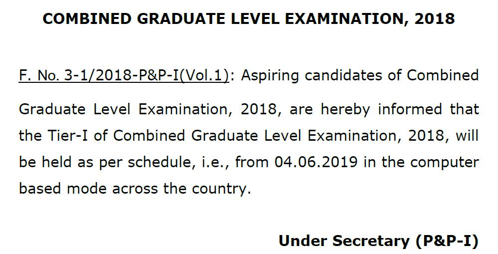 SSC CGL 2018 Notice