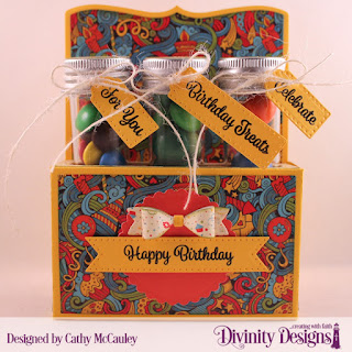 Divinity Designs Stamp Set: Treat Tag Sentiments 3, Paper Collections: Birthday Bash , Birthday Brights,  Custom Dies: Test Tube Trio, Scalloped Circles, Small Test Tubes