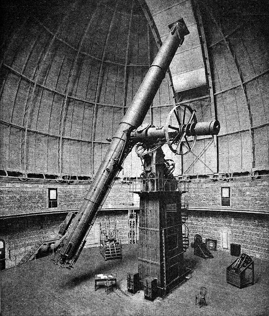 Photo of a 1919 telescope observatory interior