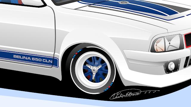 """Imagem mostrando o detalhe da roda dianteira da Ford Belina II """"650 CLN"""""""