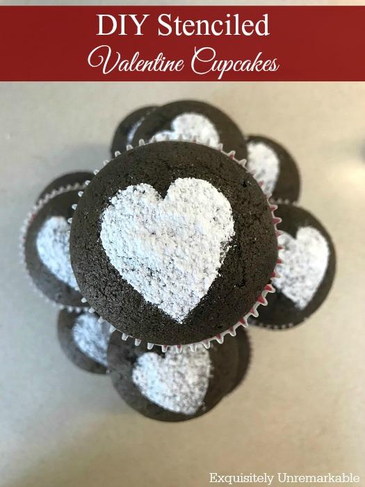 Stenciled Valentine Cupcakes