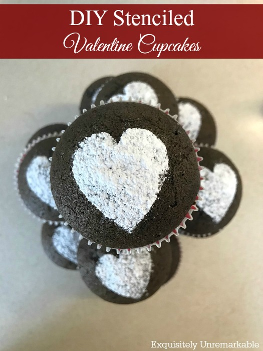 How to adorn cupcakes with stenciled powdered sugar hearts
