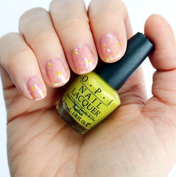 Negative Space Spring Dotticure Nail Art, OPI Who the Shrek are You? - Tori's Pretty Things Blog