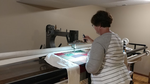 My mom using my 1989 Gammill longarm