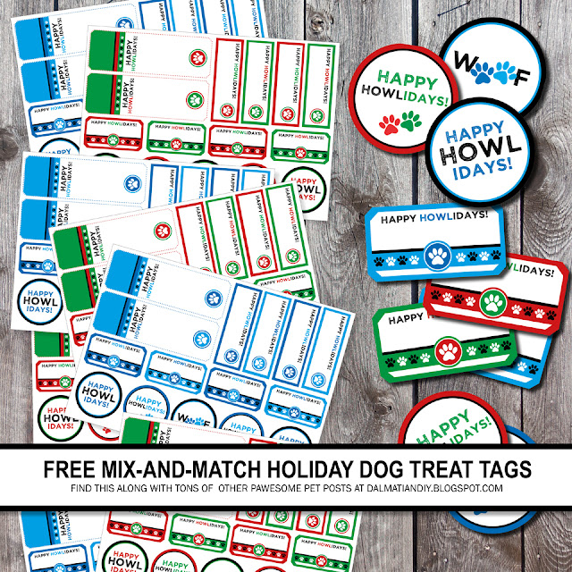 "Printable ""Happy Howlidays!"" dog treat tags and labels"