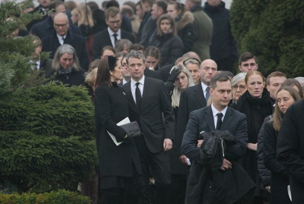 Count Frederik Christian Adam Moltke's funeral service at Tureby Church. Crown Princess Mary wore Hugo Boss coat