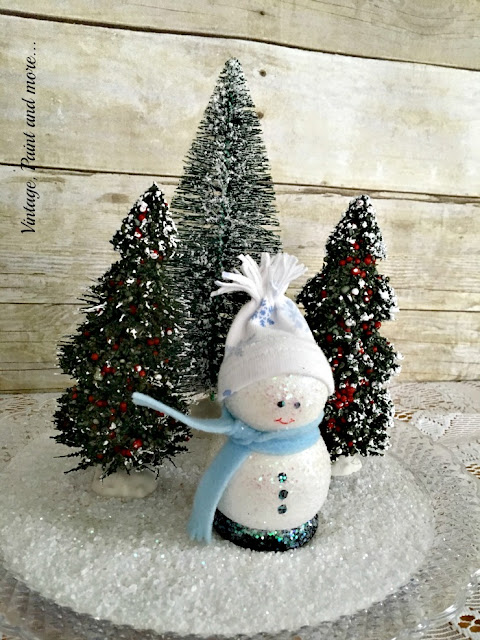 "Vintage, Paint and more... DIY wooden snowman in a snow scene of bottle brush trees and ""faux"" snow"