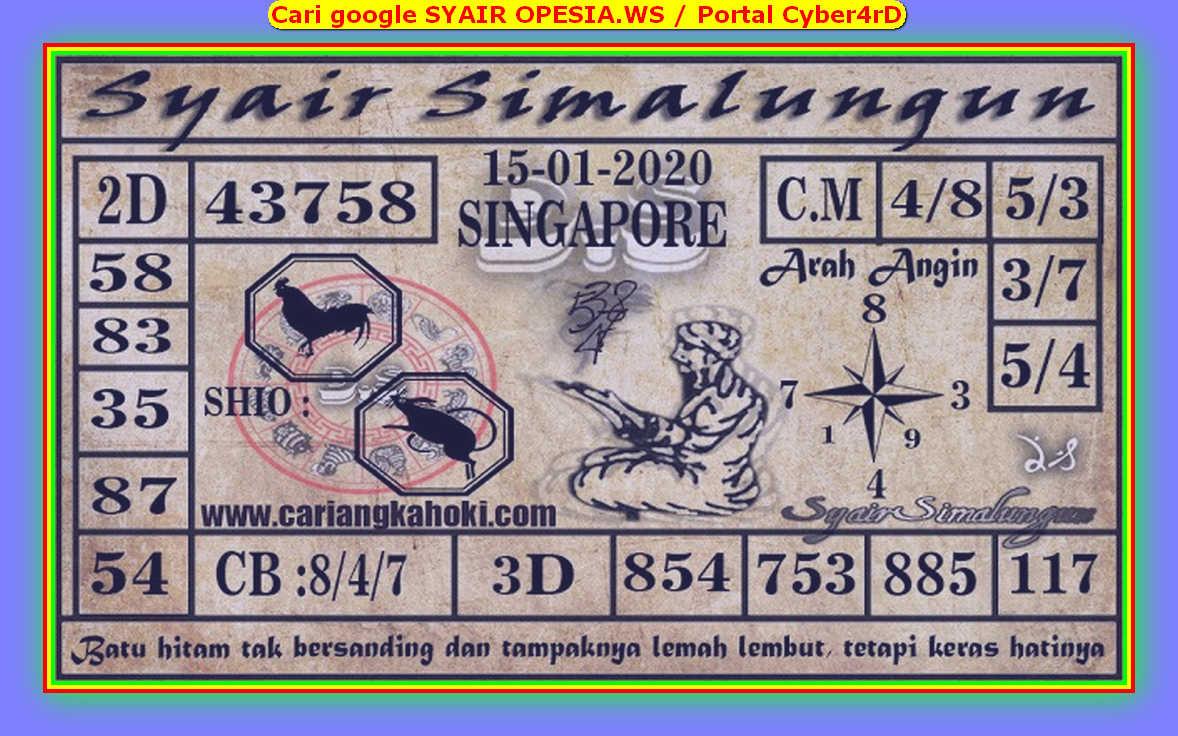 Kode syair Singapore Rabu 15 Januari 2020 96