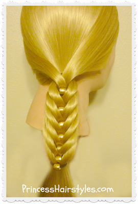 Easy fishtail braid with beads tutorial
