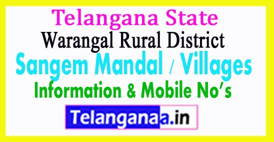 Sangem Mandal Villages in Warangal Rural District Telangana