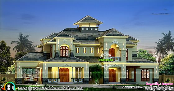 Colonial model luxury house rendering