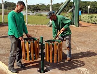 Campo Mourão: Parque do Lago recebe novas lixeiras