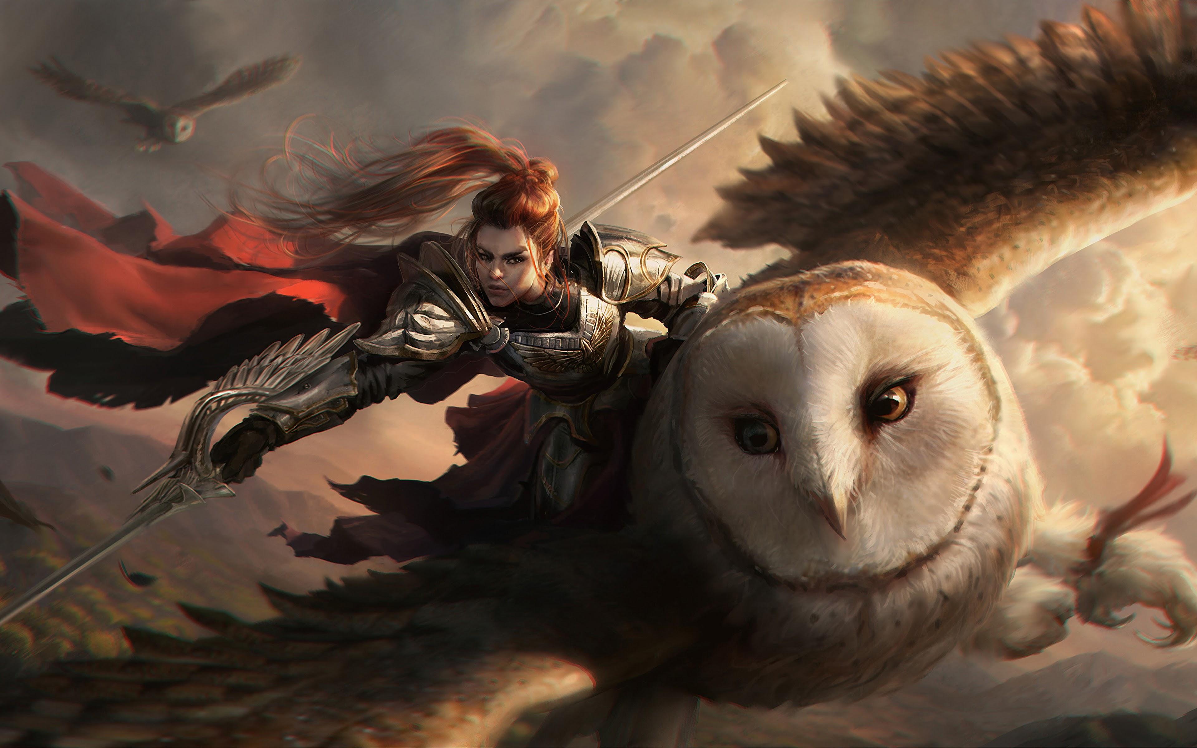 Fantasy Warrior Owl 4k Wallpaper 124