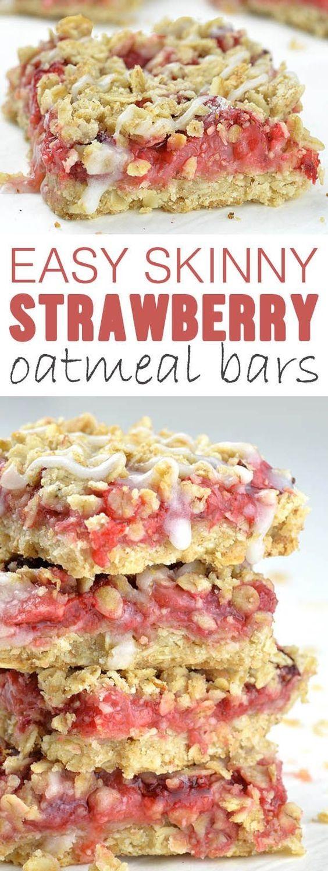 Easy Skinny Strawberry Oatmeal Bars