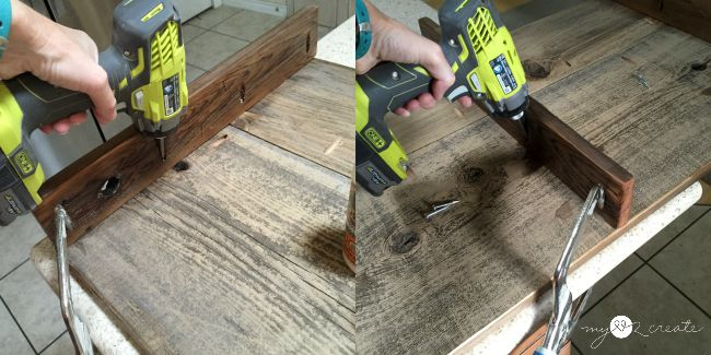 attaching table divider pieces with pocket hole screws