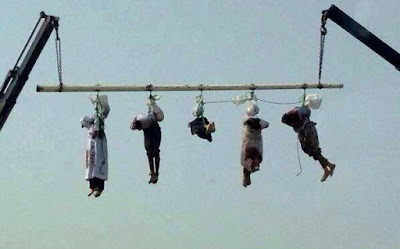 """Crucifixion"" of executed prisoners in Saudi Arabia."