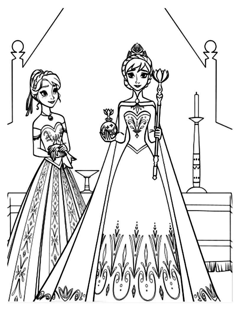 Tranh tô màu Elsa và Anna 08
