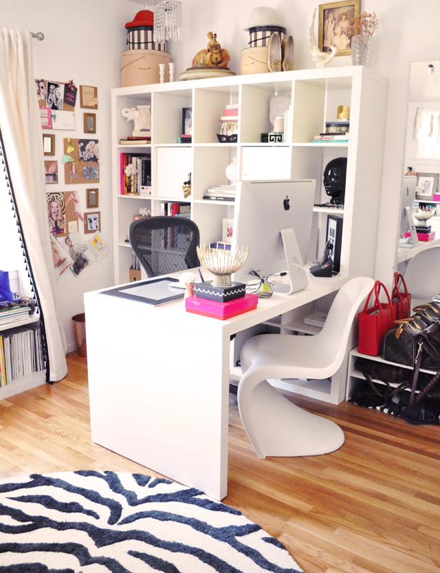 blogger home office, ikea expedit shelving unit desk