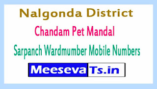 Chandam Pet Mandal Sarpanch Wardmumber Mobile Numbers List Part I Nalgonda District in Telangana State