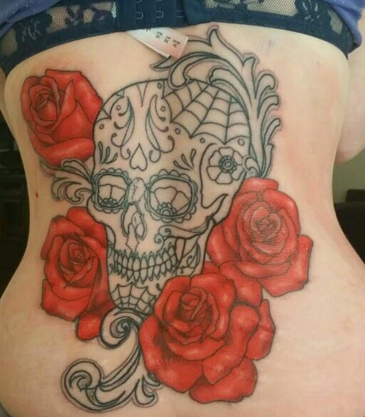 back tattoo skull roses