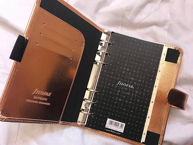 Filofax Rose Gold Saffiano Personal Organiser