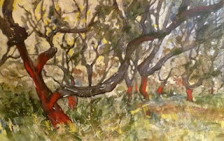 Painting of Cork Oak trees Andalucia