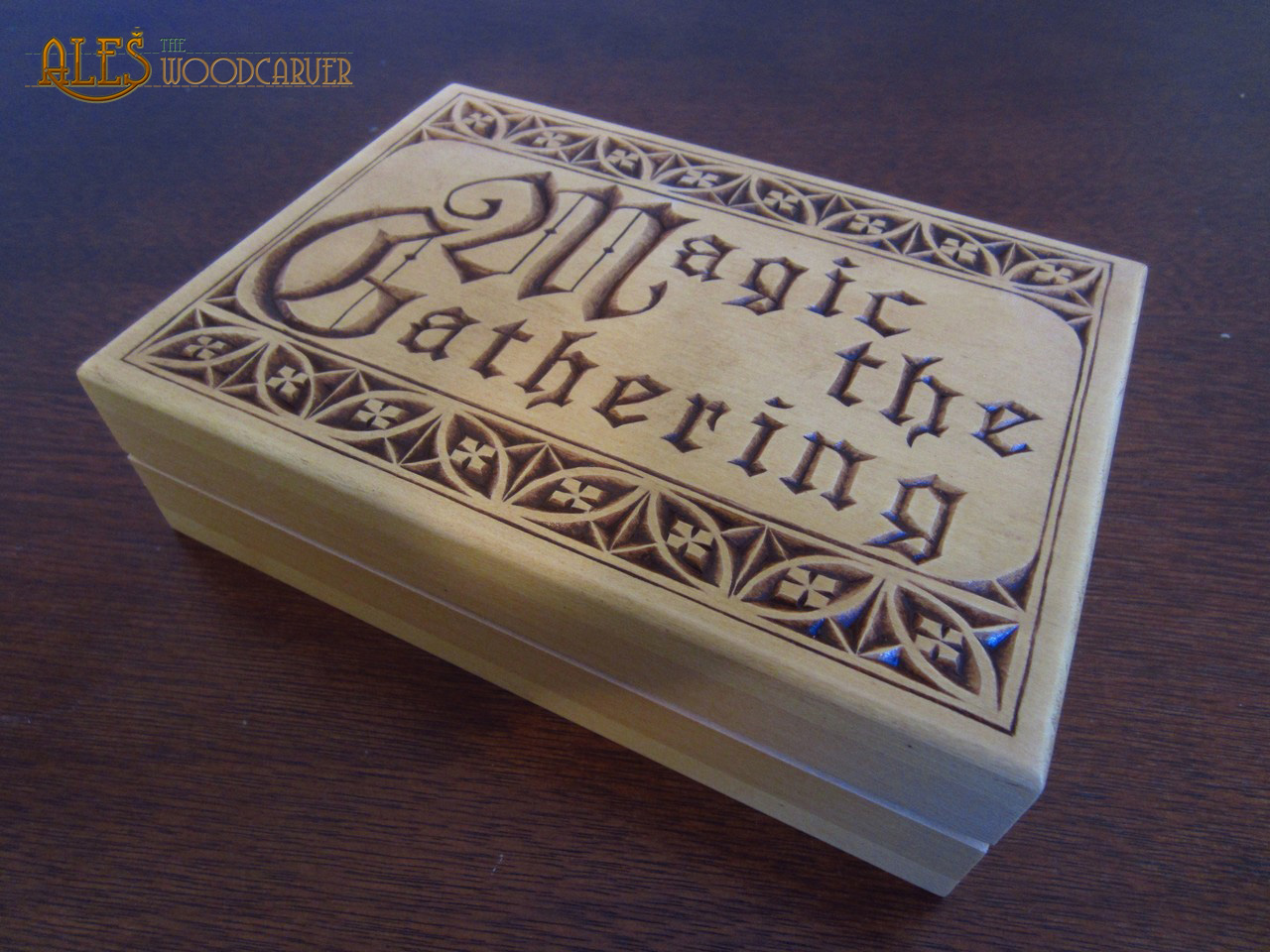 Ales The Woodcarver Chip Carved Card Box Magic The