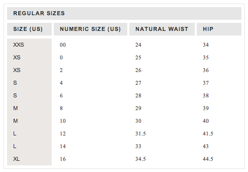 crew size charts tops bottoms dresses also my rh mysizechartsspot