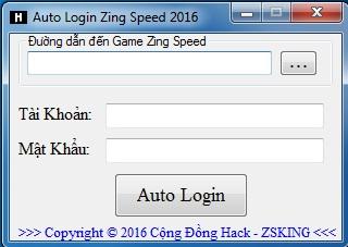 Khi bật Login sẽ tự mở Zing Speed tự nhập tài khoản và mật khẩu rồi đăng  nhập - Tự động đăng nhập lại khi Diss Game