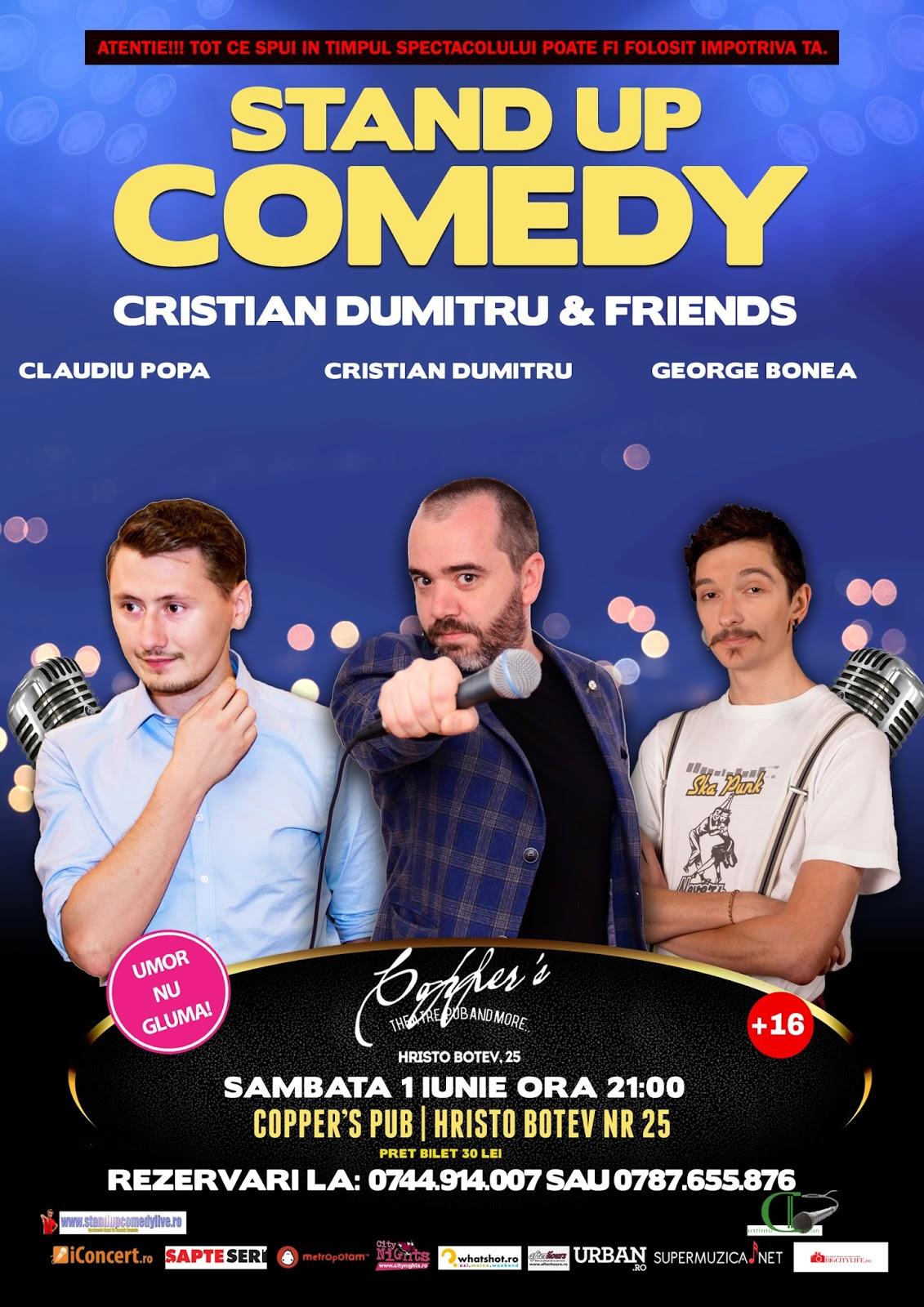 Stand-Up Comedy Bucuresti Sambata 1 Iulie 2017 | Copper's Pub
