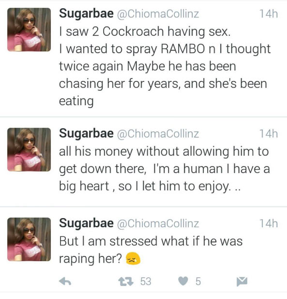 Twitter user spots two coachroaches having sex and does this..