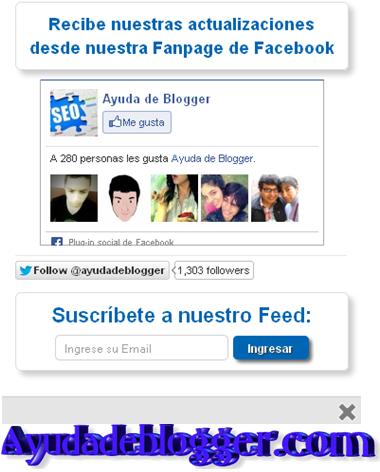 Como insertar un Popup de Facebook y suscripción en blogger