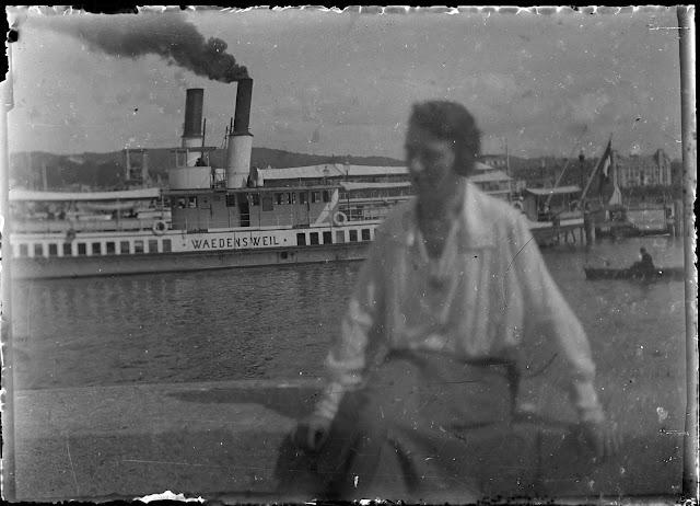 Schraubendampfer Waedensweil - Blick Richtung Utoquai und Grandhotel Bellevue - ca. 1910-1920